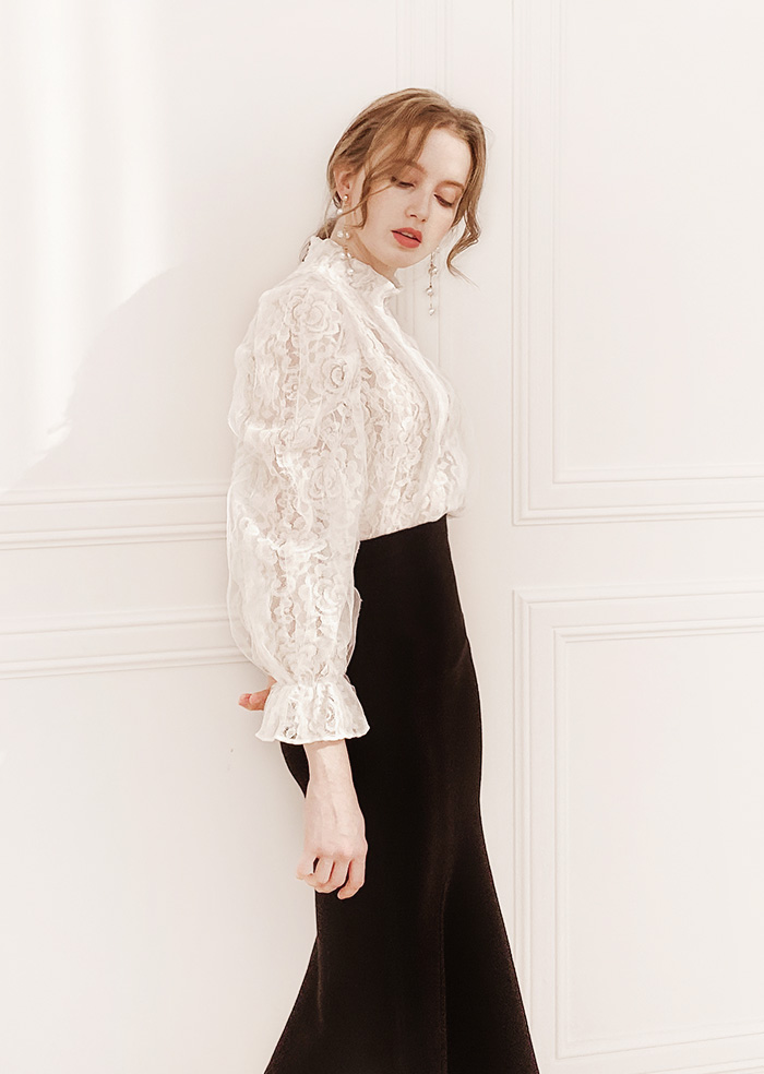 Lace Puff Blouse (White)