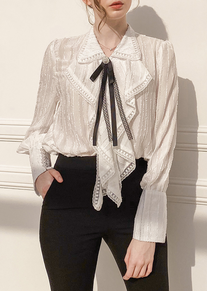 Lily Shirring Blouse (White)