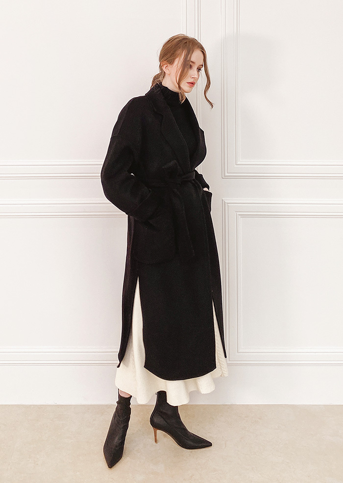 Wool 100% Handmade Coat (Black)