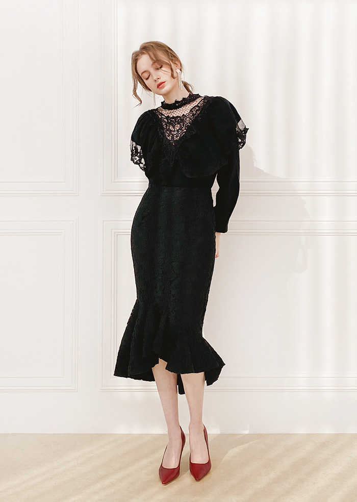 Mermaid Lace Skirt (Black)