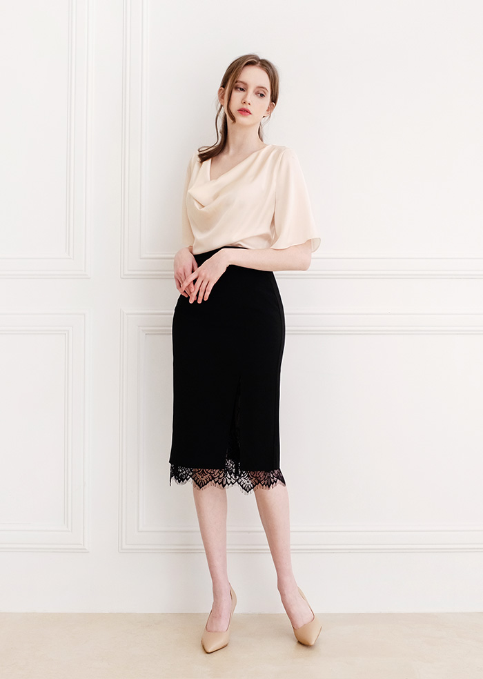 H-Line Lace Slit Skirt (Black)