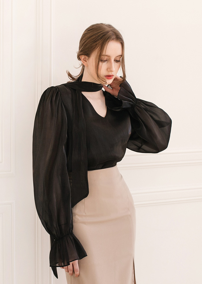 Daisy Satin V-neck Blouse (Black)