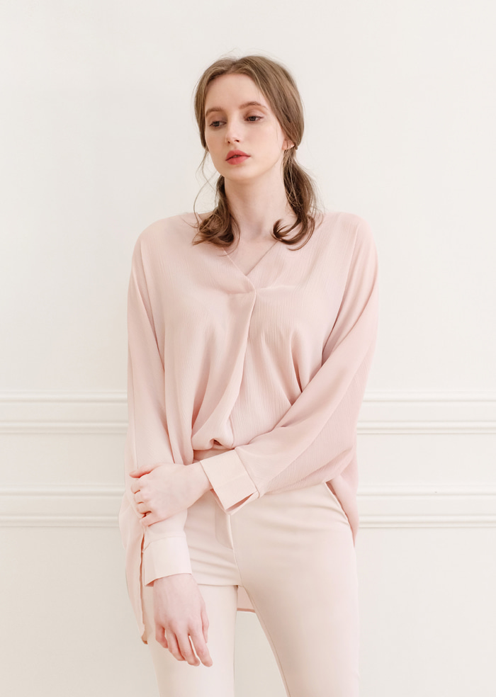 Baba V-Neck Shirt Blouse (Pink)