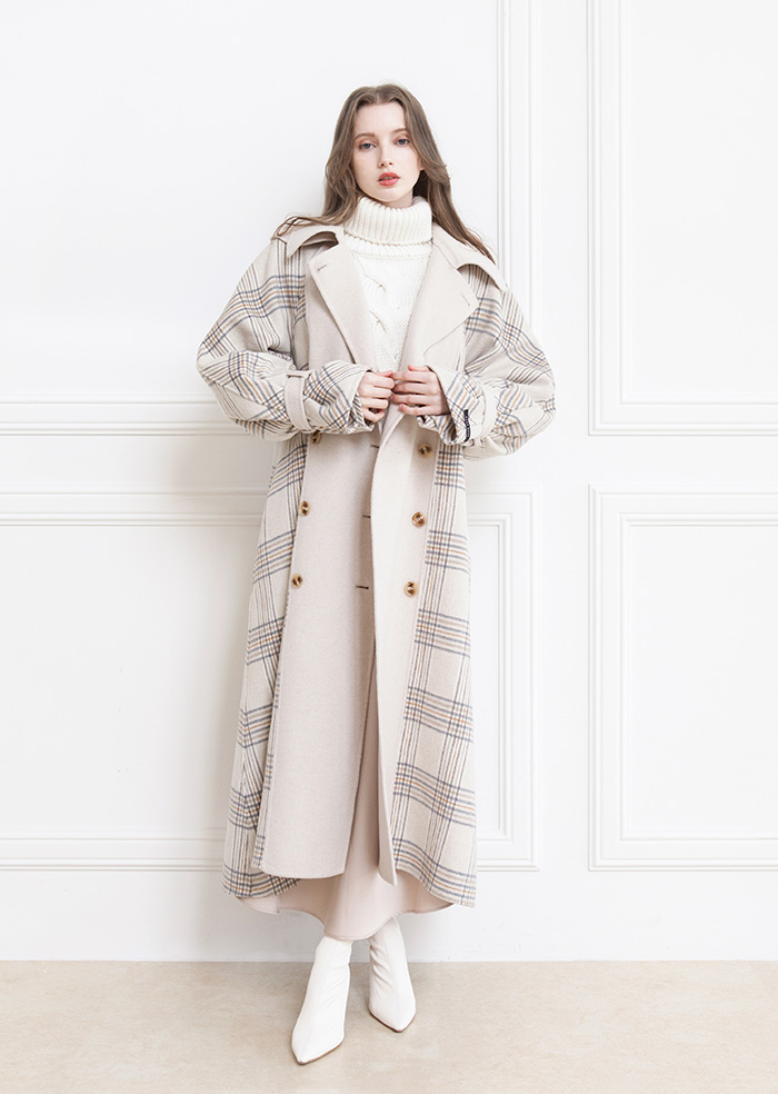 Overfit Check Trench Handmade Coat