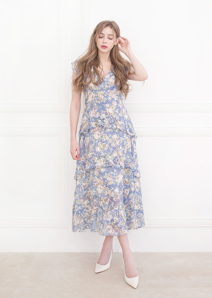 April Flower One-piece (Blue)