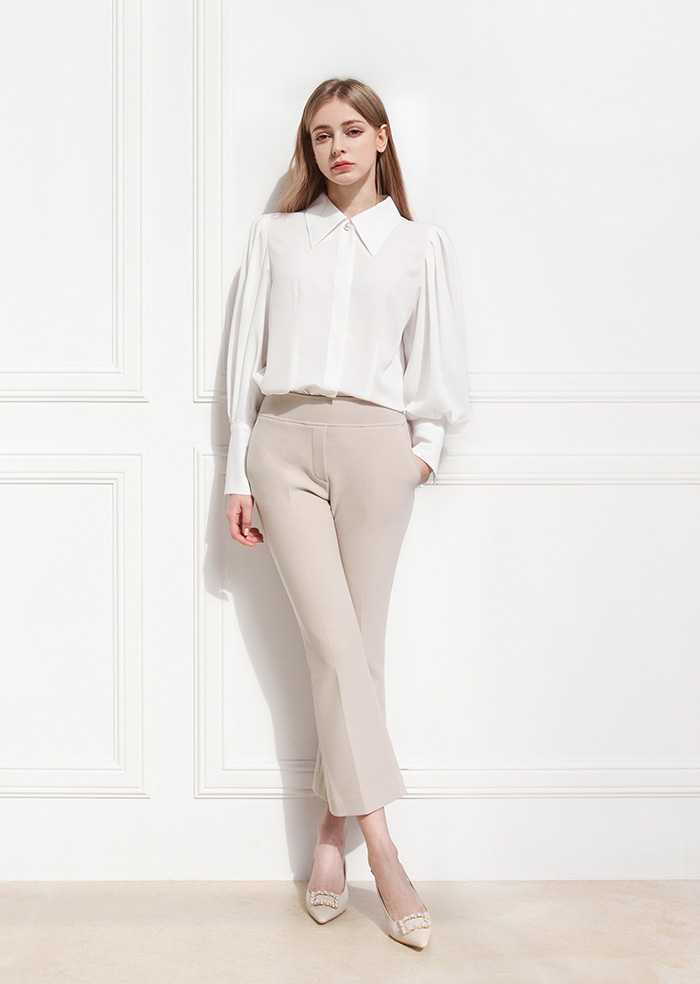 Banding Short Slacks (Beige)