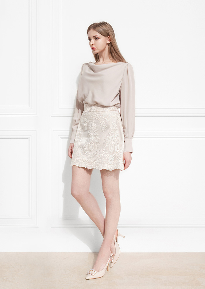 Wedding Short Skirt (Beige)