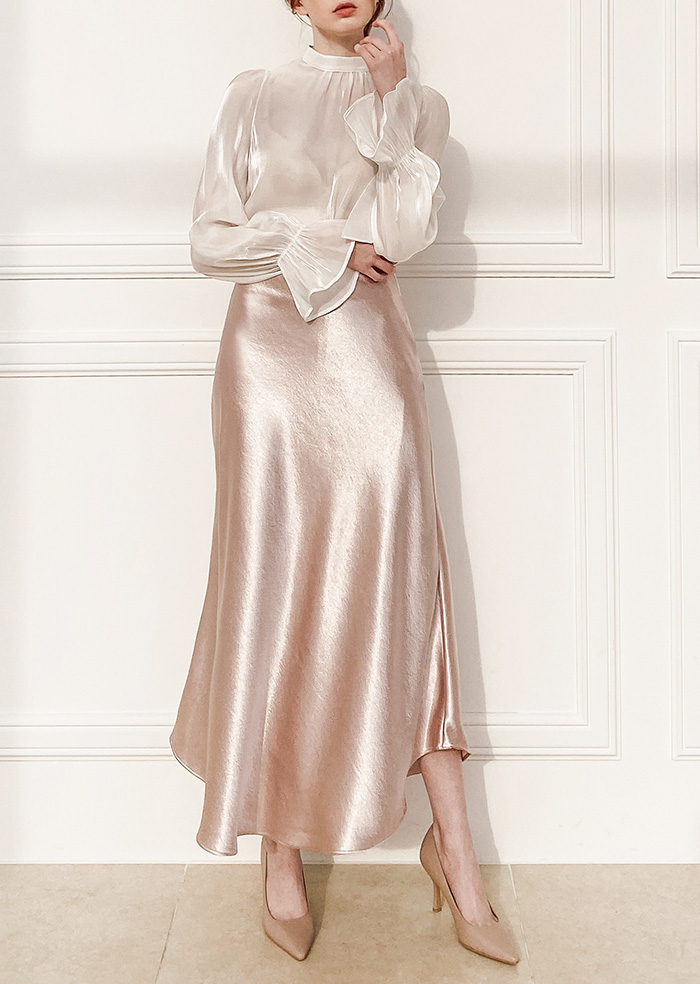 Glam Satin Skirt (Pink)