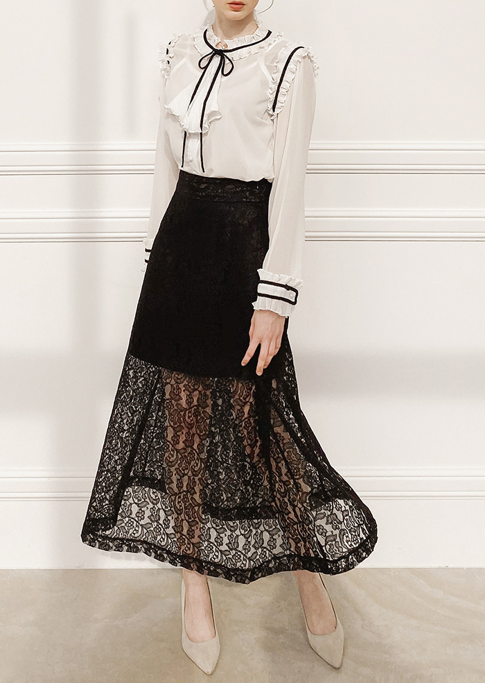 Lace Flare Skirt (Black)