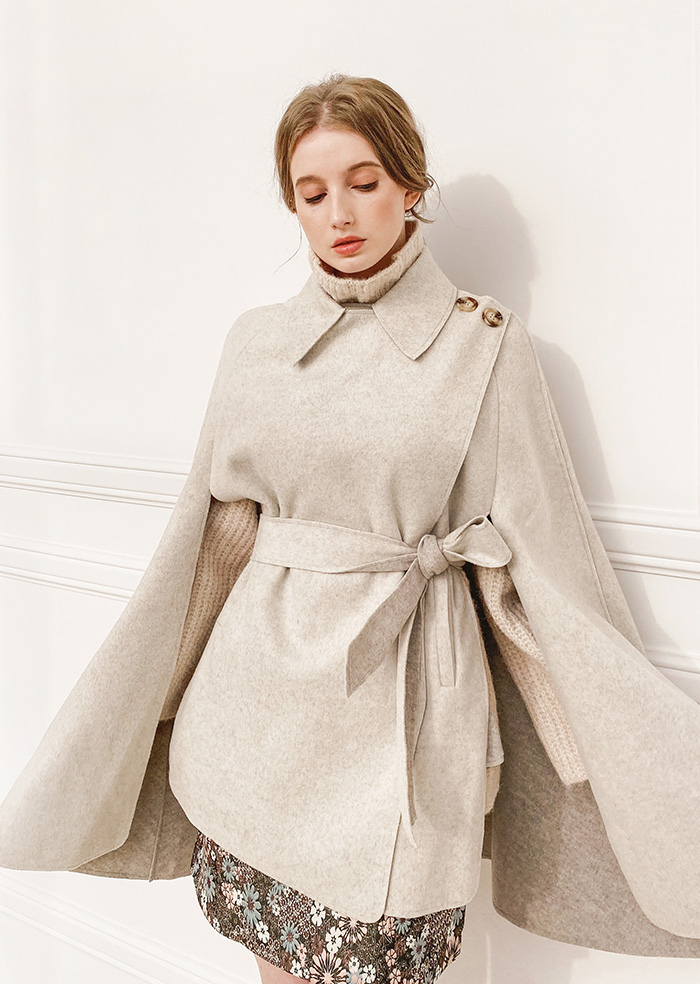Shawl Cape Coat (Oatmeal)