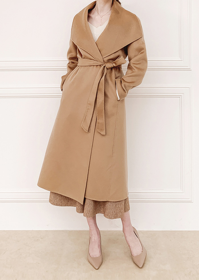 Wool 100% Big Collar Coat (Brown)