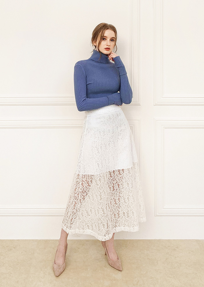 Lace Flare Skirt (White)