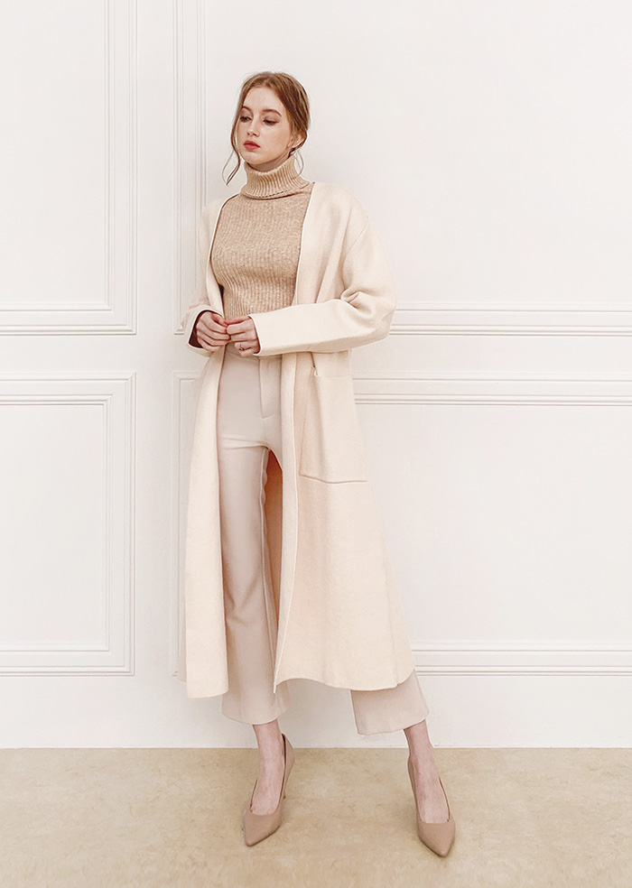 No Colla Long Cardigan (Ivory)